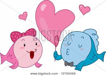 Illustration of a Male Fish Making a Heart-shaped Bubble for His Girl