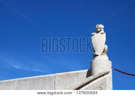 Beast holding a shield at Fisherman's Bastion Budapest Hungary