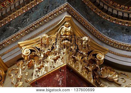 Golden corinthian capital in Saint Stephen Basilica in Budapest Hungary