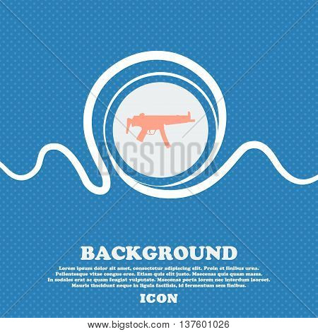 Machine Gun Sign Icon. Blue And White Abstract Background Flecked With Space For Text And Your Desig