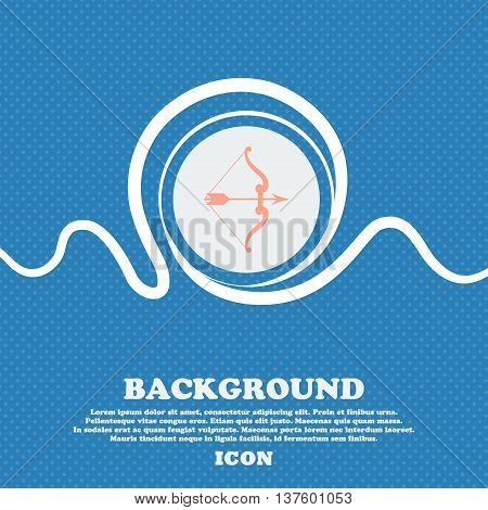 Bow And Arrow Sign Icon. Blue And White Abstract Background Flecked With Space For Text And Your Des