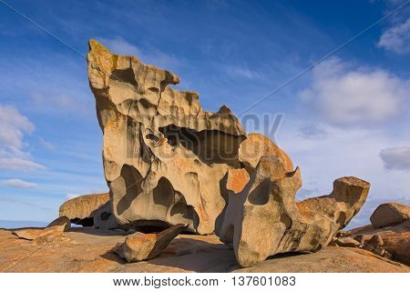 Remarkable Rocks, natural rock formation covered by golden orange lichen at Flinders Chase National Park. One of Kangaroo Island's iconic landmarks, South Australia