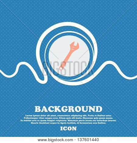 Wrench Sign Icon. Blue And White Abstract Background Flecked With Space For Text And Your Design. Ve