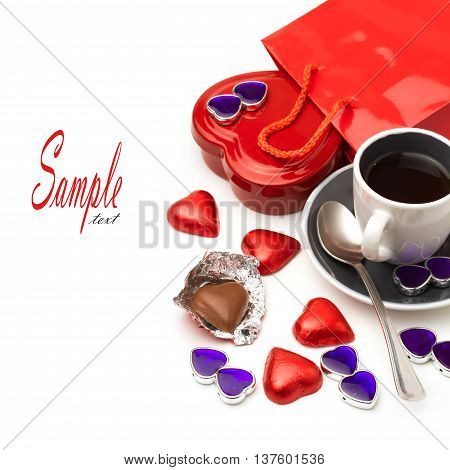 Valentine's Day composition with heart shape chocolate and coffee cup