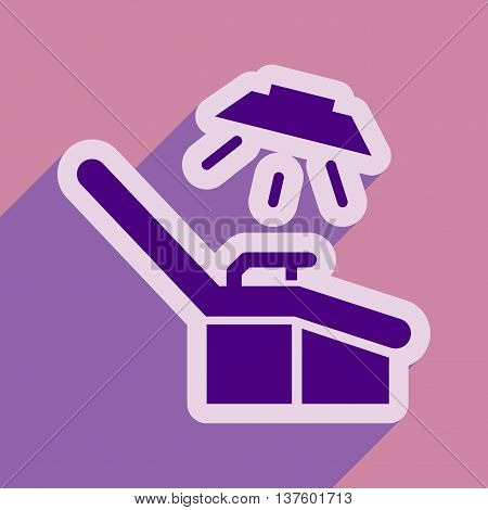 flat icon with long shadow gynecological chair