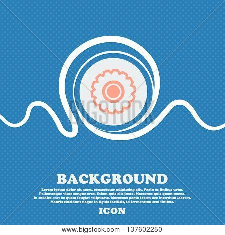 Cogwheel Sign Icon. Blue And White Abstract Background Flecked With Space For Text And Your Design.