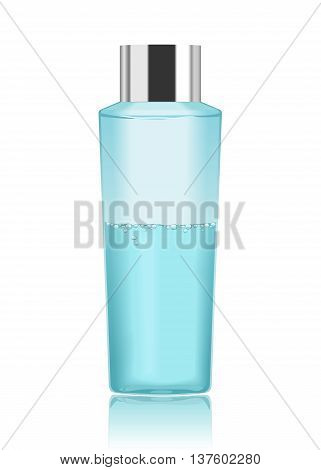 Blue transparent cosmetic bottle isolated on white. Make-up remover. Detailed vector illustration