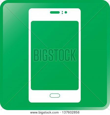 Vector Smartphone Concept Icon White on Green