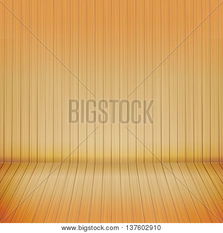 Brown wood floor with wood background empty room with space vector illustration eps10