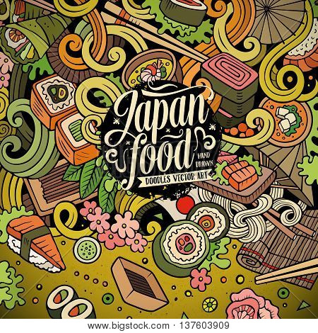 Cartoon hand-drawn doodles Japan food illustration. Colorful detailed, with lots of objects vector design background