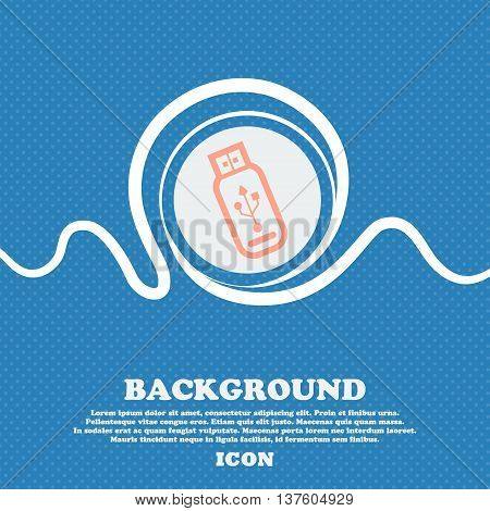 Usb Flash Drive Sign Icon. Blue And White Abstract Background Flecked With Space For Text And Your D