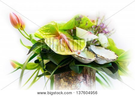 Flower holiday or birthday decoration, beautiful blooming bouquet