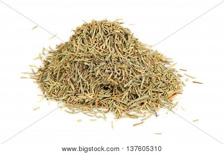 A pile of dried rosemary isolated on a white background
