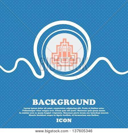 Skyscraper Sign Icon. Blue And White Abstract Background Flecked With Space For Text And Your Design