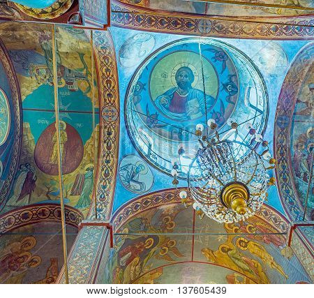 BATUMI GEORGIA - MAY 24 2016: The bright blue cupola with the old frescoes in Greek Orthodox St Nicholas Church on May 24 in Batumi.