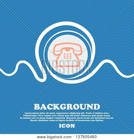 Retro Telephone Handset Sign Icon. Blue And White Abstract Background Flecked With Space For Text An