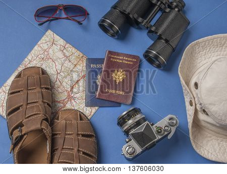 Travel vacation objects on a blue background