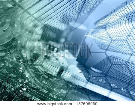Digits buildings and map - abstract computer background in greens and blues.