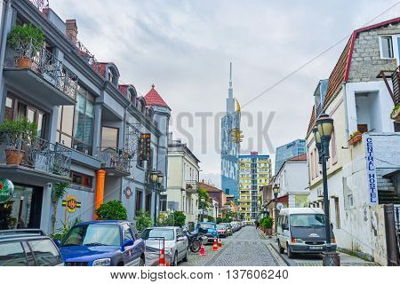 BATUMI GEORGIA - MAY 24 2016: The tourist neighborhood is full of the family hotels and guest houses located in the old cottages on May 24 in Batumi.