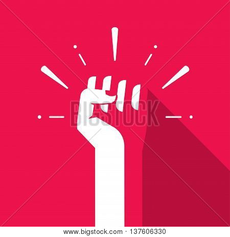 Fist hand up vector icon flat symbol, soviet, radical, patriotic freedom sticker, solidarity, uprising, propaganda, military, splashes, badge isolated on red, modern logo illustration design sign, tag