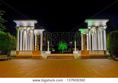 The evening view of the Greek-style colonnade in Batumi Georgia.