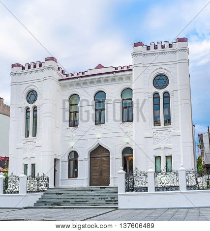 More than 100 years old white Synagogue located in the old town of Batumi Georgia.