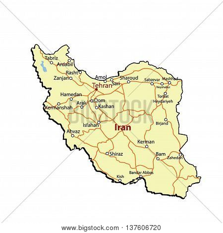 Vector Iran Outline with Major Roads & Cities