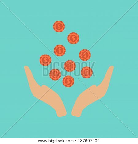 flat icon on stylish background poker coins in hand