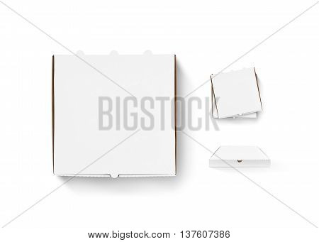Blank pizza box design mock up set isolated. Carton packaging pizza box delivery clear mockup. Hot pizza clear box template. Stack of boxes top view. Food container any side. Pizza boxes.