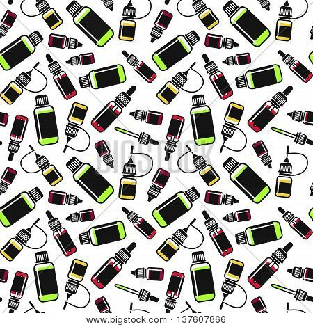 Vector seamless pattern of e-liquid for vape shop e-cigarette store. Color print on white background