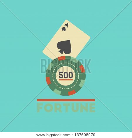 flat icon on stylish background poker Fortune chip card