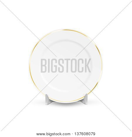 White blank plate mock up holder isolated 3d illustration. Empty dish mockup stand. Clear tableware ready for pattern texture art or ornament presentation. Decorative gold rarity dish template. Plate frame layout.