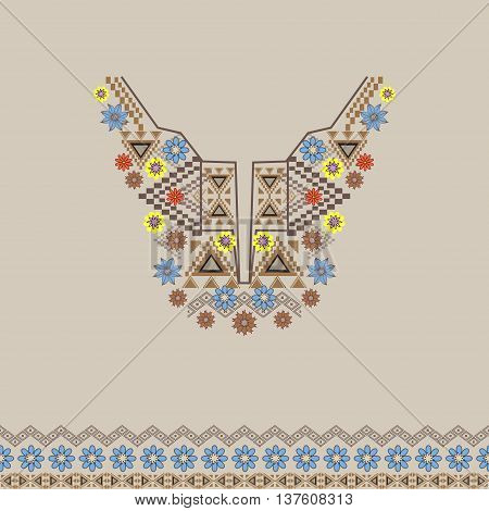 Vector neckline and border with ethnic and floral ornament. Modern bohemian style. Flowers and geometric tribal patterns