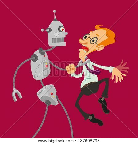 Aggressive robot attacked intelligent man with glasses vector cartoon