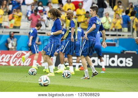 Belo Horizonte Brazil - july 08 2014: DAVID LUIZ of Brasil during the FIFA 2014 World Cup. Brazil is facing Germany in the semi-finals at Mineirao Stadium