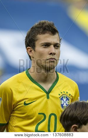 Belo Horizonte Brazil - july 08 2014: BERNARD of Brazil during the FIFA 2014 World Cup. Brazil is facing Germany in the semi-finals at Mineirao Stadium