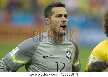 Belo Horizonte Brazil - july 08 2014: JULIO CESAR of Brazil during the FIFA 2014 World Cup. Brazil is facing Germany in the semi-finals at Mineirao Stadium