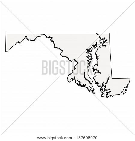 Vector Maryland State 3D Outline Map Mercator
