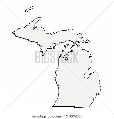 Vector Michigan, USA 3D Outline Map Mercator