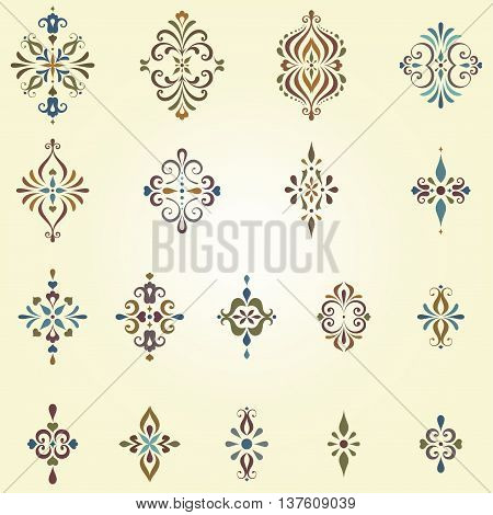 Vector arabesques and swirl ornate motifs. Can be used for creation damask seamless patterns. Elements can be ungrouped for easy editing.