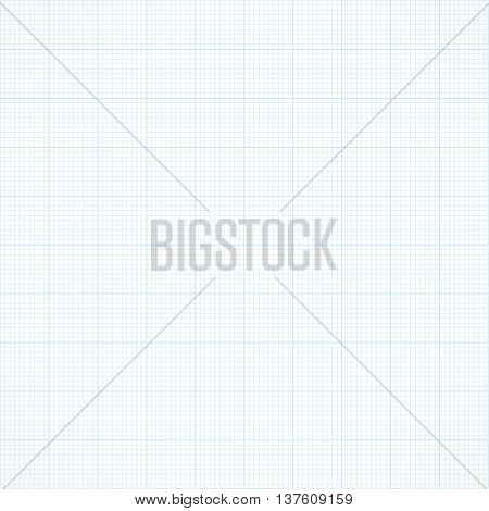 Graph seamless millimeter grid paper. Vector engineering light blue and white color background