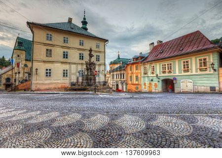 Town hall in the main square of the old town of Banska Stiavnica, Slovakia. HDR image.