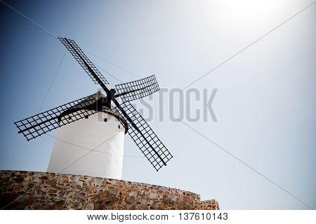 Windmill in Alcazar de San Juan, Ciudad Real Province, Castilla La Mancha, Spain.