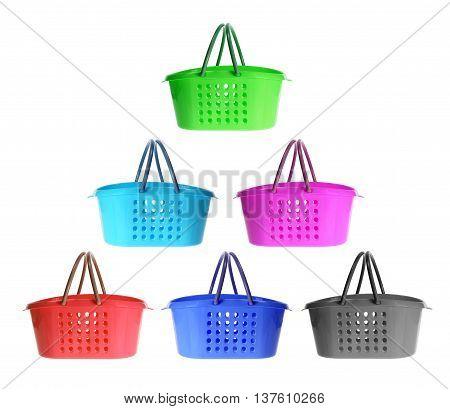 Plastic Shopping Baskets on Isolated White Background