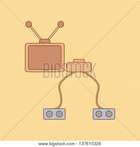 flat icon on stylish background Kids toy TV game console