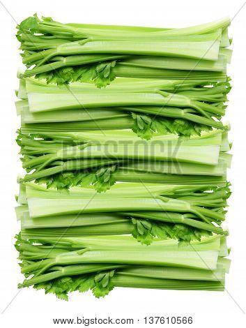 Stack of Celery Stalks on White Background