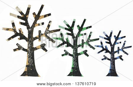 Miniature Tree Ornaments on Isolated White Background