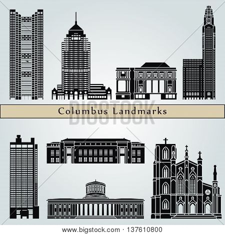 Columbus landmarks and monuments isolated on blue background in editable vector file