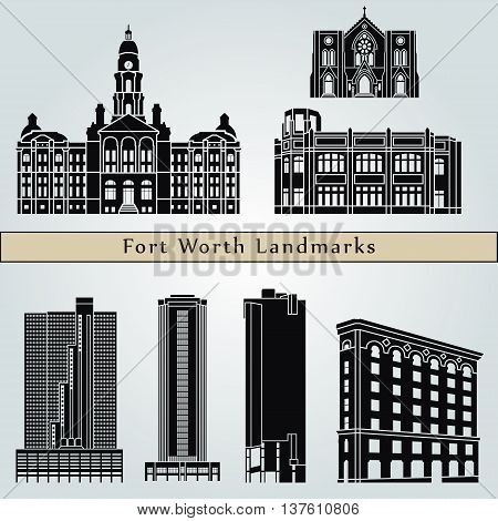 Fort Worth landmarks and monuments isolated on blue background in editable vector file