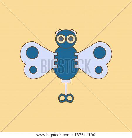 flat icon on stylish background Kids toy butterfly